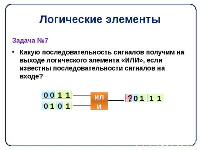 Логические элементы Задача №7 Какую последовательность сигналов получим на выходе логического элемента «ИЛИ», если известны последовательности сигналов на входе?