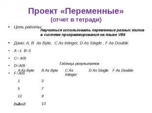 Проект «Переменные» (отчет в тетради) Цель работы: Дано: A, B As Byte, C As Inte