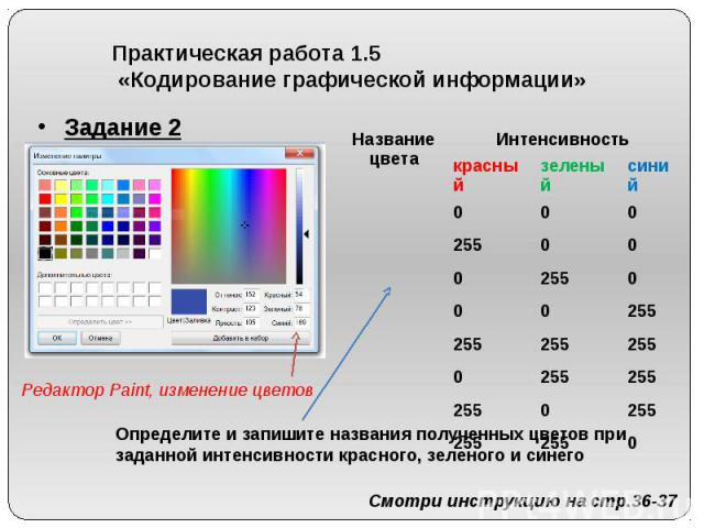 Практическая работа 1.5 «Кодирование графической информации» Задание 2