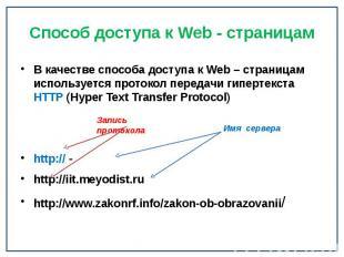 Способ доступа к Web - страницам В качестве способа доступа к Web – страницам ис