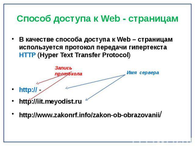 Способ доступа к Web - страницам В качестве способа доступа к Web – страницам используется протокол передачи гипертекста HTTP (Hyper Text Transfer Protocol) http:// - http://iit.meyodist.ru http://www.zakonrf.info/zakon-ob-obrazovanii/
