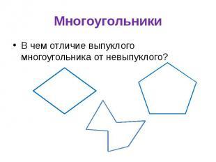 Многоугольники В чем отличие выпуклого многоугольника от невыпуклого?
