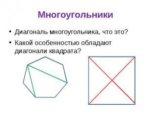 Многоугольники Диагональ многоугольника, что это? Какой особенностью обладают ди