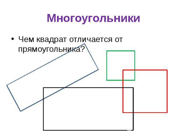 Многоугольники Чем квадрат отличается от прямоугольника?