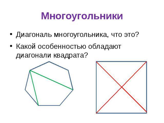 Многоугольники Диагональ многоугольника, что это? Какой особенностью обладают диагонали квадрата?