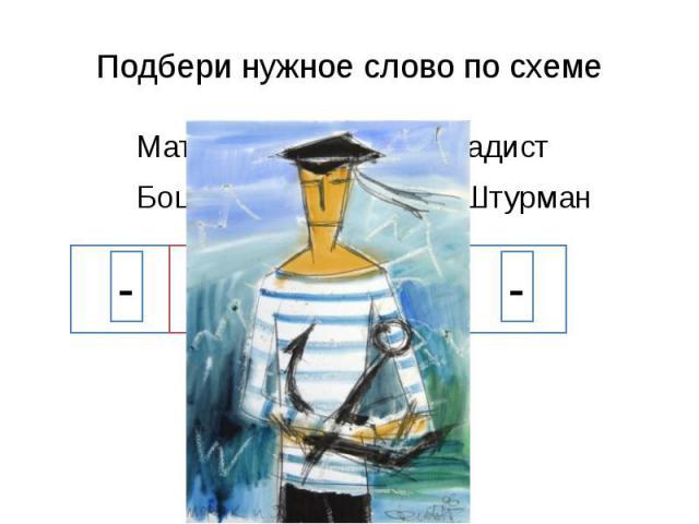 Подбери нужное слово по схеме Матрос Моряк Радист Боцман Капитан Штурман