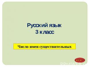 Русский язык 3 класс Число имен существительных