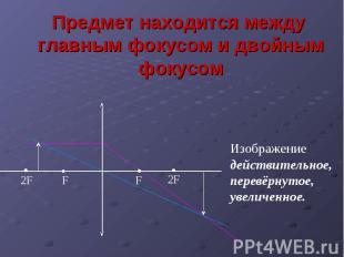 Предмет находится между главным фокусом и двойным фокусом