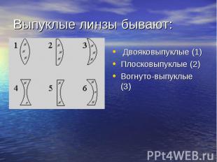 Выпуклые линзы бывают: Двояковыпуклые (1) Плосковыпуклые (2) Вогнуто-выпуклые (3