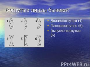 Вогнутые линзы бывают: Двояковогнутые (4) Плосковогнутые (5) Выпукло-вогнутые (6