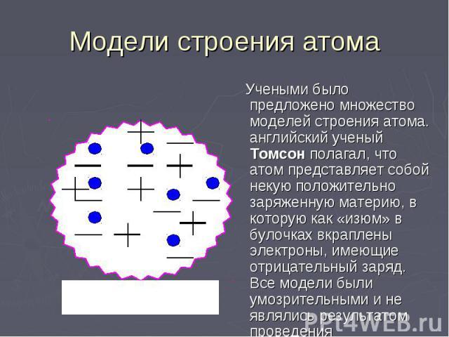 Модели строения атома Учеными было предложено множество моделей строения атома. английский ученый Томсон полагал, что атом представляет собой некую положительно заряженную материю, в которую как «изюм» в булочках вкраплены электроны, имеющие отрицат…