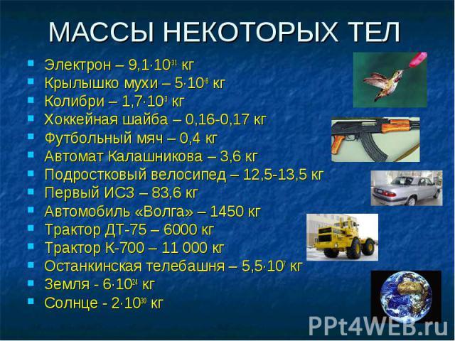 МАССЫ НЕКОТОРЫХ ТЕЛ Электрон – 9,1·10-31 кг Крылышко мухи – 5·10-8 кг Колибри – 1,7·10-3 кг Хоккейная шайба – 0,16-0,17 кг Футбольный мяч – 0,4 кг Автомат Калашникова – 3,6 кг Подростковый велосипед – 12,5-13,5 кг Первый ИСЗ – 83,6 кг Автомобиль «Во…
