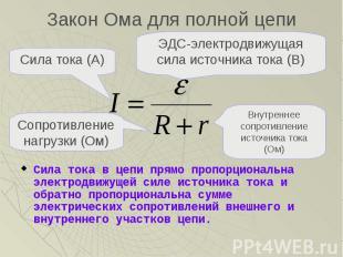 Закон Ома для полной цепи Сила тока в цепи прямо пропорциональна электродвижущей
