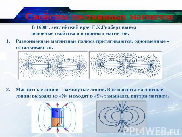 1. Разноименные магнитные полюса притягиваются, одноименные –отталкиваются. 1. Разноименные магнитные полюса притягиваются, одноименные –отталкиваются. 2. Магнитные линии – замкнутые линии. Вне магнита магнитные линии выходят из «N» и входят в «S», …