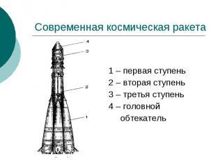 Современная космическая ракета 1 – первая ступень 2 – вторая ступень 3 – третья