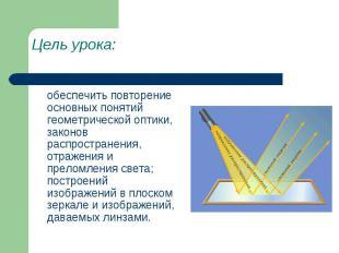 Цель урока: обеспечить повторение основных понятий геометрической оптики, законо