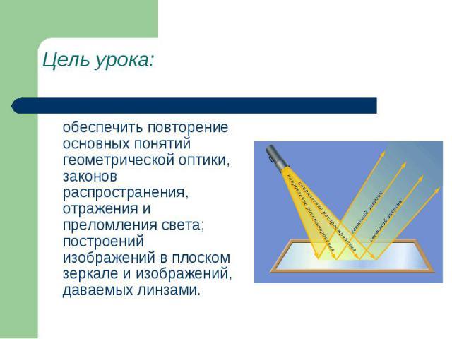 Цель урока: обеспечить повторение основных понятий геометрической оптики, законов распространения, отражения и преломления света; построений изображений в плоском зеркале и изображений, даваемых линзами.