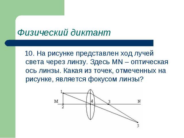 Физический диктант 10. На рисунке представлен ход лучей света через линзу. Здесь MN – оптическая ось линзы. Какая из точек, отмеченных на рисунке, является фокусом линзы?