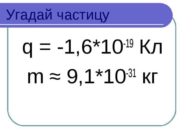 Угадай частицу q = -1,6*10-19 Кл m ≈ 9,1*10-31 кг