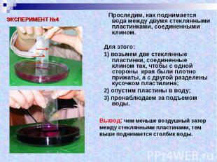 Проследим, как поднимается вода между двумя стеклянными пластинками, соединенным