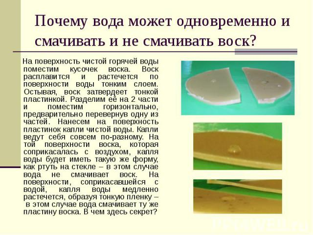 Почему вода может одновременно и смачивать и не смачивать воск? На поверхность чистой горячей воды поместим кусочек воска. Воск расплавится и растечется по поверхности воды тонким слоем. Остывая, воск затвердеет тонкой пластинкой. Разделим её на 2 ч…