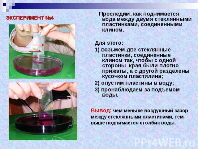 Проследим, как поднимается вода между двумя стеклянными пластинками, соединенными клином. Проследим, как поднимается вода между двумя стеклянными пластинками, соединенными клином. Для этого: 1) возьмем две стеклянные пластинки, соединенные клином та…
