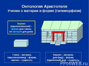 Онтология Аристотеля Учение о материи и форме (гилеморфизм)