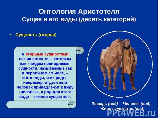 Онтология Аристотеля Сущее и его виды (десять категорий) Сущность (вторая)