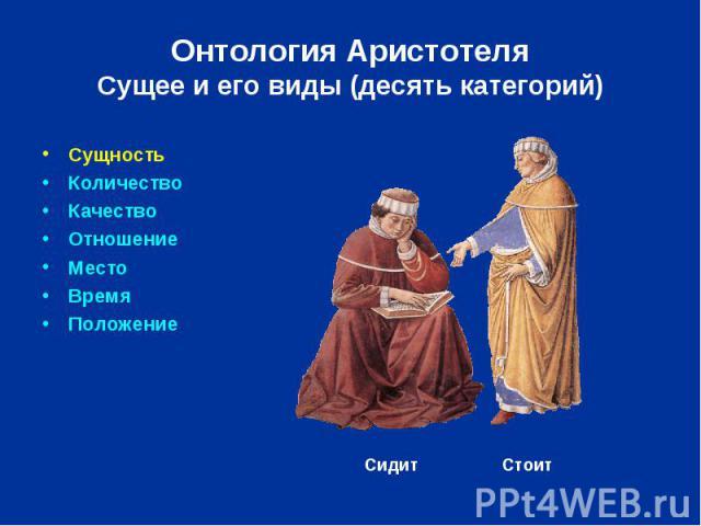 Онтология Аристотеля Сущее и его виды (десять категорий) Сущность Количество Качество Отношение Место Время Положение