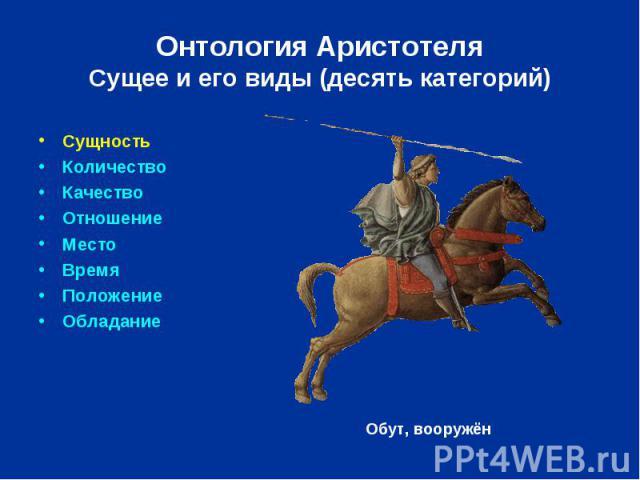 Онтология Аристотеля Сущее и его виды (десять категорий) Сущность Количество Качество Отношение Место Время Положение Обладание