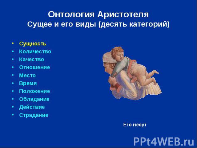 Онтология Аристотеля Сущее и его виды (десять категорий) Сущность Количество Качество Отношение Место Время Положение Обладание Действие Страдание