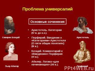 Проблема универсалий Аристотель. Категории (IV в. до н.э.). Порфирий. Введение к