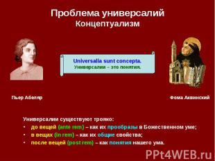 Проблема универсалий Концептуализм Универсалии существуют трояко: до вещей (ante