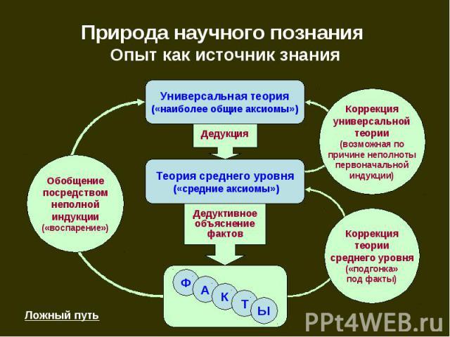 Природа научного познания Опыт как источник знания