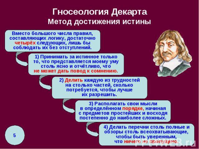 Гносеология Декарта Метод достижения истины
