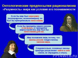 Онтологические предпосылки рационализма «Разумность» мира как условие его познав