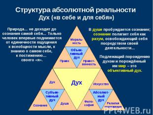 Структура абсолютной реальности Дух («в себе и для себя»)