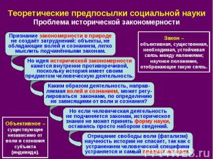 Теоретические предпосылки социальной науки Проблема исторической закономерности