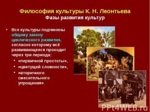 Философия культуры К. Н. Леонтьева Фазы развития культур Все культуры подчинены
