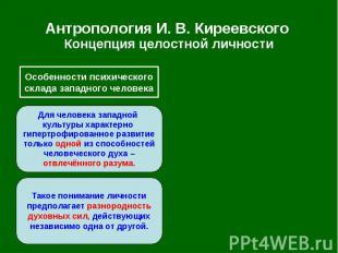 Антропология И. В.Киреевского Концепция целостной личности