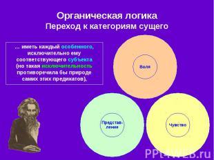 Органическая логика Переход к категориям сущего