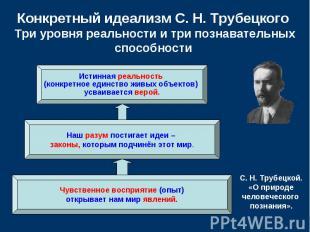 Конкретный идеализм С.Н.Трубецкого Три уровня реальности и три позна