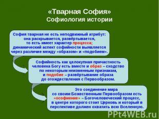 «Тварная София» Софиология истории