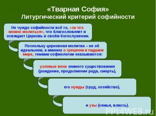 «Тварная София» Литургический критерий софийности