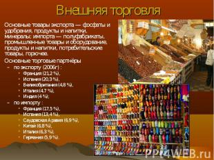 Основные товары экспорта — фосфаты и удобрения, продукты и напитки, минералы; им
