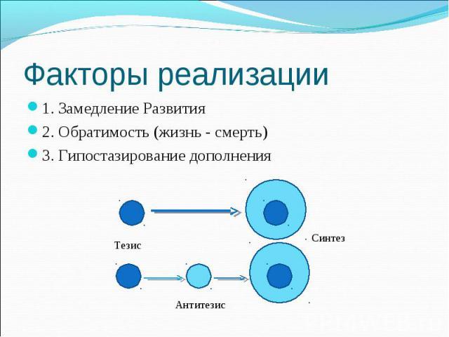 1. Замедление Развития 1. Замедление Развития 2. Обратимость (жизнь - смерть) 3. Гипостазирование дополнения