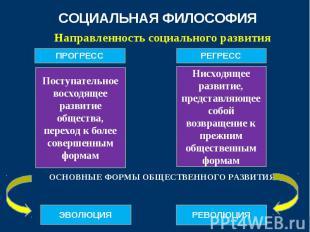Направленность социального развития Направленность социального развития ОСНОВНЫЕ