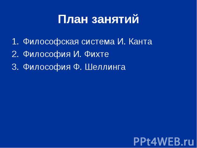 Философская система И. Канта Философская система И. Канта Философия И. Фихте Философия Ф. Шеллинга