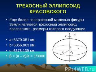 ТРЕХОСНЫЙ ЭЛЛИПСОИД КРАСОВСКОГО Еще более совершенной моделью фигуры Земли являе