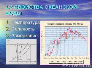 1.2 СВОЙСТВА ОКЕАНСКОЙ ВОДЫ Температура Соленость Замерзание